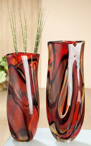 Red glass vase